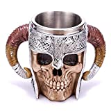 Chococolate Giftware 20 oz Stainless Steel Beer Mug Demon Skull Mug Viking Warrior Travel Coffee Mug the Elder Scrolls Mug Pit Lord Norse Mythology Folklore Satan Azazel Abigor Tea Cup Mug Decoration…