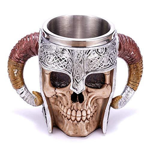 Chococolate Giftware 20 oz Stainless Steel Beer Mug Demon Skull Mug Viking Warrior Travel Coffee Mug the Elder Scrolls Mug Pit Lord Norse Mythology Folklore Satan Azazel Abigor Tea Cup Mug Decoration…