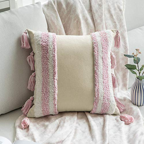 MIULEE Funda de Cojín para Sofa Fundas de Cojines Bohemia Almohadas Decorativas Copetudas Suave Decoración Moderna para Silla Cama Sala de Estar Dormitorio 1 Pieza 60x60 cm Blanco y Rosa