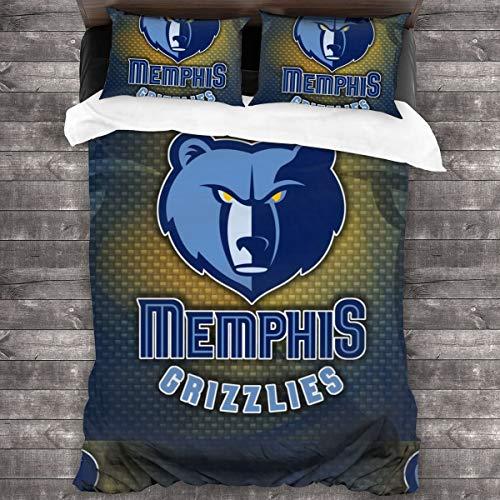 Memphis Mem Team Design 3-Piece Bedding Set Queen Size Printed Comforter Bedroom Accessories The Best Basketball Fan Gifts