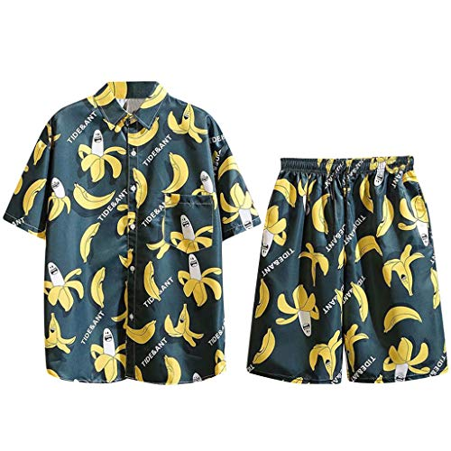 ODRD Freizeit Banane Kurzarm Shorts Set, 3D Hawaii Short Sleeve Shorts Set with Drawstring