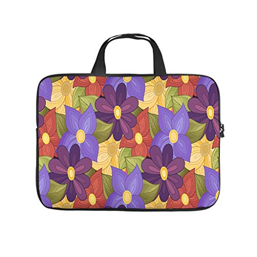Colourful Floral Pattern Laptop Bag Shockproof Protective Case for Laptops Customised Notebook Bag for University Work Business