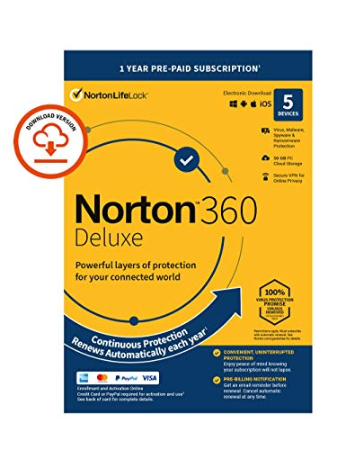 Norton 360 Deluxe 2021, Antivirus software for 5 Devices and 1-year subscription with automatic renewal, Includes Secure VPN and Password Manager, PC/Mac/iOS/Android, Activation Code by email