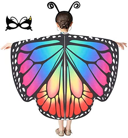 Cuteshower Butterfly Costume for Girls Butterfly Wings Cape Halloween Costume Pretend Party product image