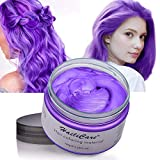 Hair Color Wax, Unisex Temporary Hair Dye Purple, Hairstyle Coloring Cream for Party, Cosplay, Halloween, Masquerade, Club, Disposable Hair Dye for Women and Men, 4.23oz