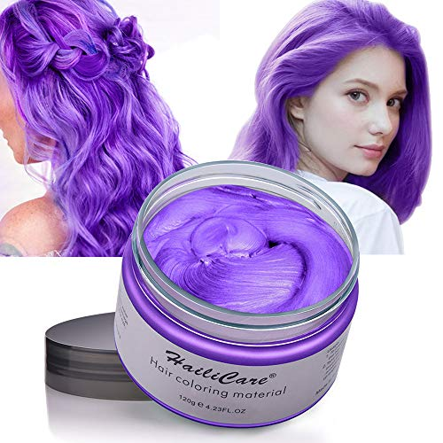 Hair Color Wax, Unisex Disposable Purple Hair Dye, Hairstyle Coloring Cream for Party, Cosplay, Halloween, Masquerade, Club, Temporary Hair Dye for Women and Men, 4.23oz