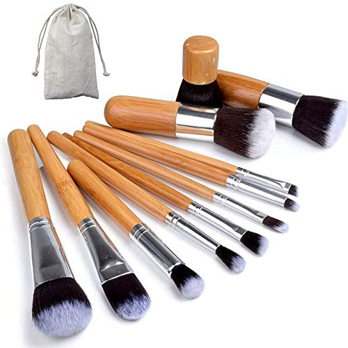 WEHQ Pinceau de Maquillage Set, brosses 11pcs Maquillage Bambou Pinceaux Brosses Blush Fondation Maquillage Professionnel pour Les Femmes