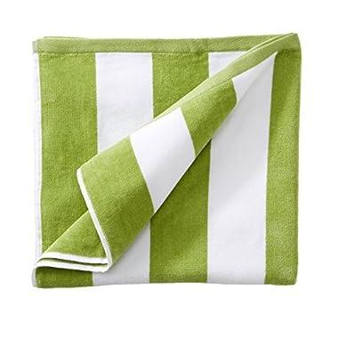 Great Bay Home 100% Cotton Plush Cabana Stripe Oversize Velour Beach Towel (40x70). By Brand. (Green)