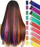 RHY 9 piezas partido destacado colorido piezas de cabello Clip en extensión de cabello de color princesa disfraces peluca para niñas / muñecas (color del arco iris)