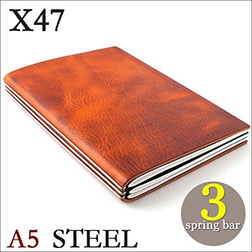 X47 STEEL 本革 A5 コニャック ライトブラウン 3本バー ドイツ製 ノートブック 横罫・無地・方眼 ノートセット