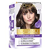 L'Oréal Paris Permanente Haarfarbe mit ultra kühlem Farbergebnis, 100% Grauhaarabdeckung, Set mit Coloration, Shampoo und Pflegecreme, Excellence Cool Creme, Nr. 6.11 Ultra kühles Dunkelblond (Blond)