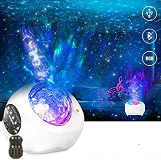 HueLiv Star Projector Night Light 3 in1 Galaxy Projector Sky Nebula Ocean Wave for Ceiling, Gift for Kids Baby Bedroom/Gaming Room/Party/Home with Remote Control Hi-Fi Stereo Music Bluetooth Speaker