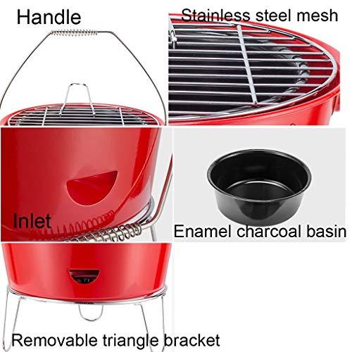 51MGQzXxv8L. SL500  - Grills Kochplatten Barbecue verdickte Garten Holzkohle-Rack Runde Barrel Herd Aussen tragbare Mini- Grillzubehör (Color : Red)