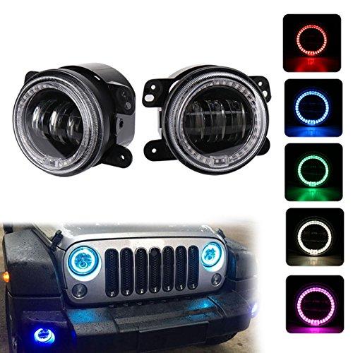KATUR 4 Zoll 60W CREE Nebelscheinwerfer mit RGB Halo für Je ep Wrangler JK JKU TJ LJ Nebelscheinwerfer Frontstoßstange Scheinwerfer Winkel Eye DRL