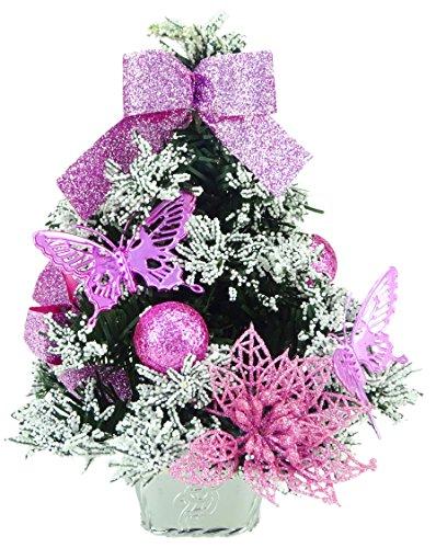 CHRISTMAS CONCEPTS® 20cm (8') Árbol de Navidad Helado con Decoraciones de Color Rosa bebé - Árbol de Navidad...