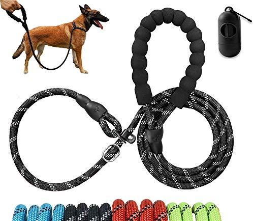 Moonpet Hundeleine Retrieverleine mit zugstopp Moxonleine Dauerhafte Weiche Reflektierende mit Halsband Einstellbar Leinen für Mittlere und Große Hunde,1,8 m Schwarz