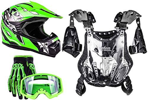 Typhoon Youth Dirt Bike Motocross ATV Helmet Gloves Goggles Chest Protector Combo Green (XL)