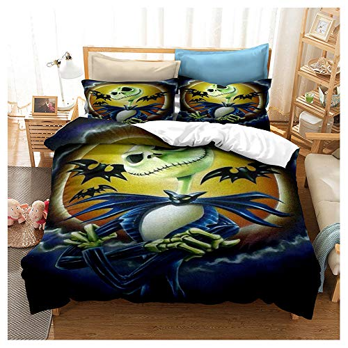 HOXMOMA 3D Printing Nightmare Before Christmas Bedding, Anime Character Duvet Cover, Microfibre Decoration Quilt Cover, Hypoallergenic Bedding Set for Children,Blue,Queen228cmx228cm