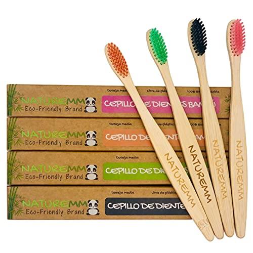 Cepillos de Dientes de Bambú (Set de 4) Biodegradables Vegano Ecológico | Cerdas Dureza Media | Mango 100% Biodegradable de Madera de Bambú Natural y Orgánica Sin Plástico |