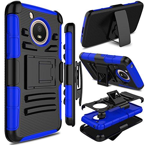 Motorola Moto E4 Case, Moto E 4th Generation Case, Zenic Full-Body Heavy Duty Shockproof Protective Hybrid Case Cover with Swivel Belt Clip and Kickstand for Moto E4 / G5 (Blue)