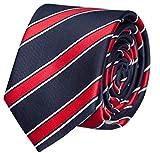 Fabio Farini Seidenweiche Krawatte 8 cm in verschiedenen Farben, Blau-Rot gestreift