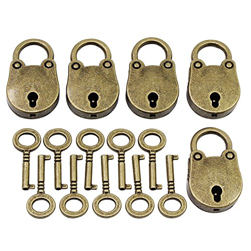 PsmGoods® Vintage Antieke Art Mini hangsloten Key Lock 5-pack