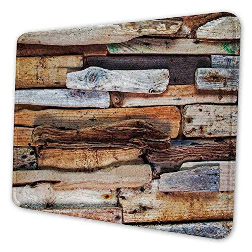 Rechthoekige Mousemat Mousepad, Houten Thema Drijfhout en Knotty Planken in De Vintage Stijl Ontwerp Digitale Afbeelding