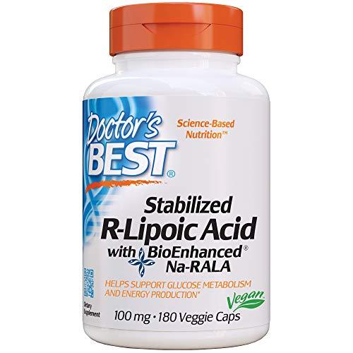 Doctor's Best | Stabilized R-Lipoic-Acid (R-Liponsäure) | 100mg | 180 vegane Kapseln | glutenfrei | sojafrei