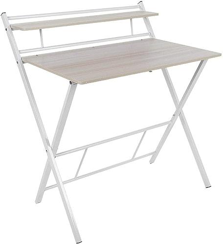 Jeffergarden, Ordinateur de Bureau Pliable à 2 Couches, Table compacte Etudiant pour Le Bureau à Domicile (Light marron)