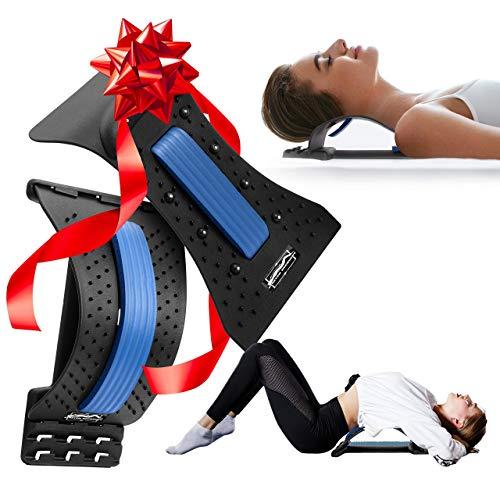 Innostretch (2 in 1) - Back stretcher for pain relief with neck stretcher for cervical pain relief - Lumbar stretcher for back pain - Orthopedic back and neck stretcher