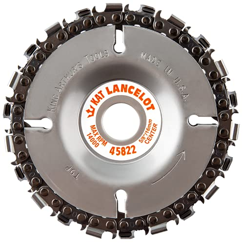 """King Arthur's Tools Patented Lancelot 22 Tooth Circular Saw Blade Carving Disc for Woodworking, Removal, Cutting, and Shaping - 5/8"""" Bore, Fits Most Standard 4 1/2"""