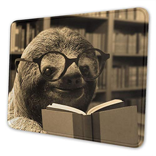 Sloth Reading Books Mouse Pad with Stitched Edge Premium-Textured Mouse Mat Non-Slip Rubber Base Rectangle Gaming Mousepad for Laptop Computer Office & Home (10 X 12 X 0.12 in)