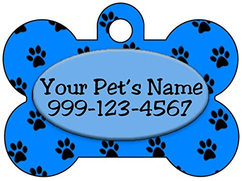 Personalized Dog Tag Pet ID Tag Paw Prints w/Name & Number (Blue)