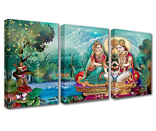 Tucocoo Home Decor 3 Piece Hindu Lord Radha Krishna Canvas Wall Art,Modern Artwork for Living Room Picture Giclee,Wooden Framed Gallery-Wrapped Stretched Ready to Hang Posters and Prints(42''Wx20''H)