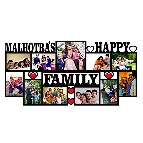 Plan To Gift Prime TAG Assurance Happy Family with 11 Photos Customized Photo Frame with Name Collage | Customized Gift Personalized Photo Frame with Name 12 x 24 inch