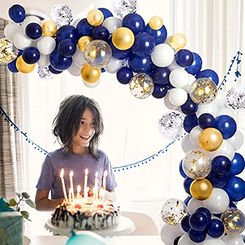 RECHUANSHANGMAO 100 Pcs Balloons Arch Garland Kit, Navy Blue Gold and Confetti Party Balloons with Tying Tools, Birthday Party Decorations for Girls, Party, Wedding, Baby Shower