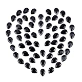 GORGECRAFT 80PCS Coser En Diamantes de Imitación, Gemas de Lágrima de Cristal Coser Garra Rhinestone Piedras Preciosas de Espalda Plana para Joyería Ropa Bolsa Zapatos Vestido, Negro