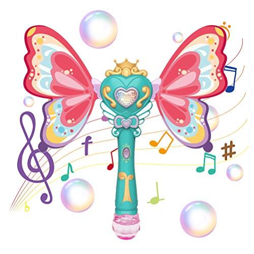 Eeneme Máquina de burbujas de bastón de hadas, varita automática de burbujas para niños soplador de mariposa mágica con luz musical, regalo para niños y niñas