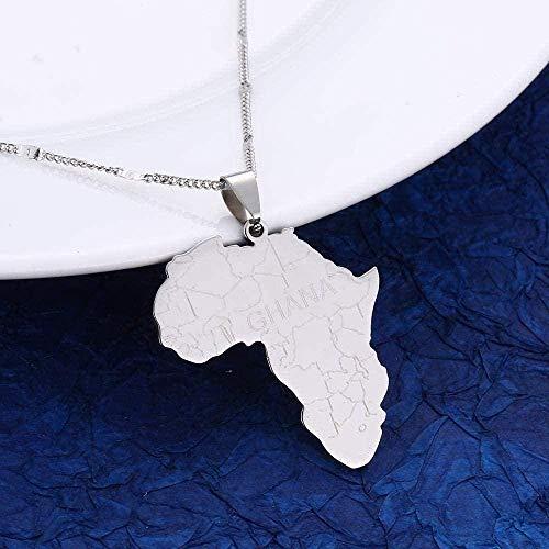 NC190 Collar de Acero Inoxidable Mapa de África con Ghana Collares Pendientes para Mujeres Hombres Mapas africanos Cadena de Encanto Collar de joyería Longitud 50cm