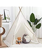 Wisfor Kids Teepee Tent, Portable Canvas Teepee Outdoor Indoor Play Teepees Large Children Playhouse for kids Room Decoration 120×120×130cm White
