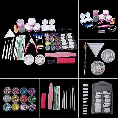 LANDOT Acrylic Nail Art Kit Set with 12Pcs Acrylic Nail Powder Glitter Nail Design Liner Brushes product image
