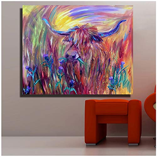 XuFan The Flowery Cattle in The Flowers Painting Wall Art On Canvas The an Ornament Home Decor Postes and Prints -24x28 inch No Frame