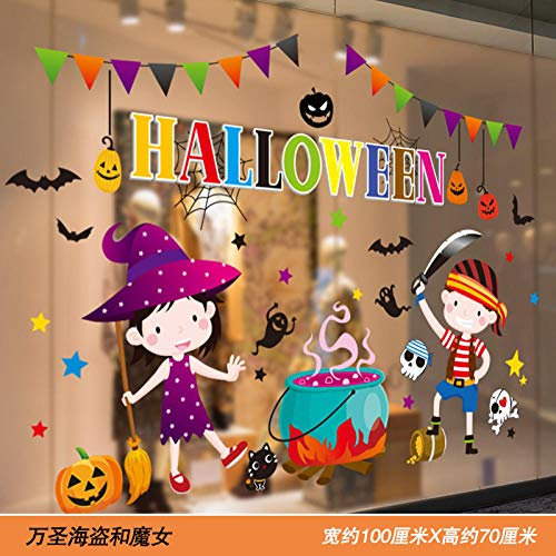 Muurstickers Jhpinghalloween Glazen Sticker Winkelcentrum Raamdecoratie Sticker Dameskleding Shop Raamsticker Arrangement Venster Sticker Muursticker Venster Bloem @_