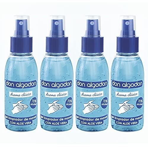 Don Algodon - Gel Limpiador de Manos Hidroalcohólico Aroma Clásico 70% Alcohol. Formato Spray 100 ml, (4 ud).
