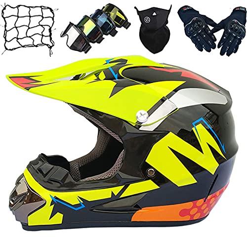 Casco Motocross Niños, Conjunto Casco Cruzado Adultos con Gafas/Máscara/Guantes/Red Elástica, Motocicleta Todo Terreno ATV MTB BMX Enduro Descenso Protección Motocicleta Casco - Negro Brillante