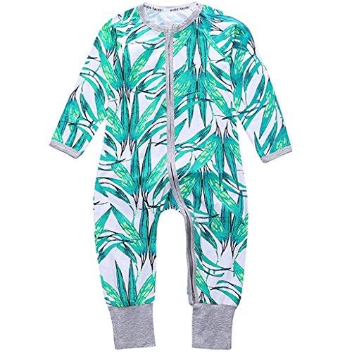Vine Baby Overalls Schlafanzug Säugling Baumwolle Stramper Spielanzug Langarm Body Reißverschluss, 12-18 Monate