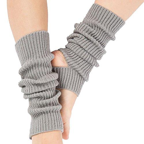 Tukistore Damen Warme Gestrickte Socken Beinlinge Stiefel Häkeln Lange Leg Warmers,Yoga Socken Beinwärmer Knit Gamaschen Gestrickte Socken, Hellgrau, Einheitsgröße