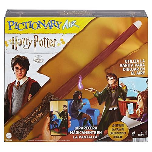 Mattel Games Pictionary Air Harry Potter, ve lo que dibujas en pantalla, con varita para dibujar en el aire, juego de mesa para niños +8 años (Mattel HDC62)