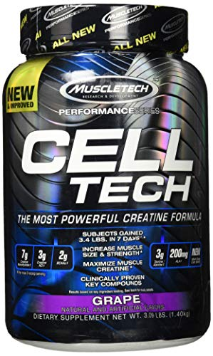 Creatin Monohydrat und BCAA, MuscleTech Cell-Tech Creatine Monohydrate Powder, Aminosäuren und Kreatin für den Muskelaufbau und Kraftraining, Traube, 1.4 kg (28 Portionen)