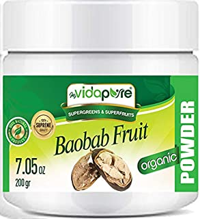 Organic Baobab Fruit Powder. Freeze Dried RAW Gluten-Free, Non-GMO, Superfood, Natural Booster for Smoothie with Vitamin C...